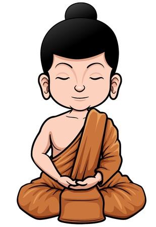 buddha tranquil: illustration of Buddhist Monk cartoon