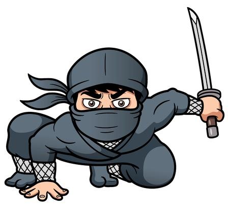 katana: illustratie van Cartoon Ninja
