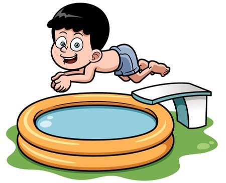 young boy in pool: illustration of Cartoon boy diving in pool Illustration