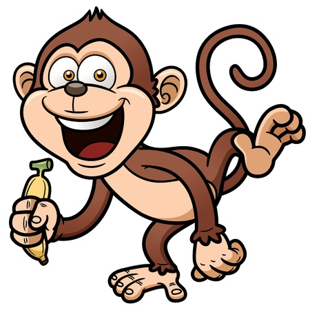 animal: illustration of cartoon monkey with banana