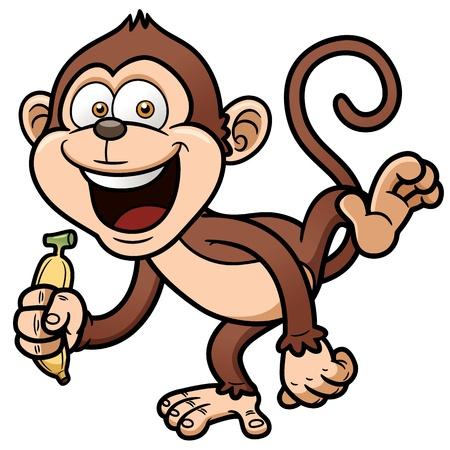 mono caricatura: ilustración de dibujos animados mono con banana