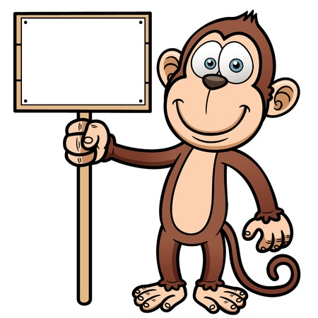 illustration of Cartoon monkey with wooden sign Stock Vector - 19552792