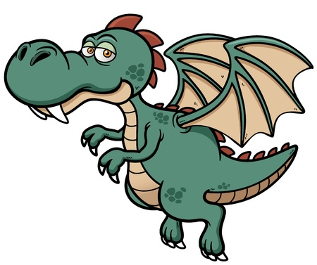 green dragon: illustration of cartoon dragon