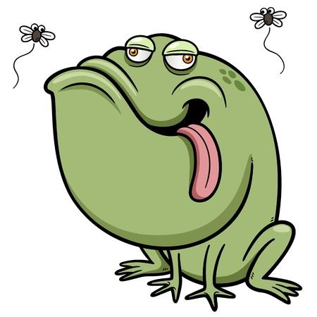 zoo amphibian: illustration of Cartoon frog with bug