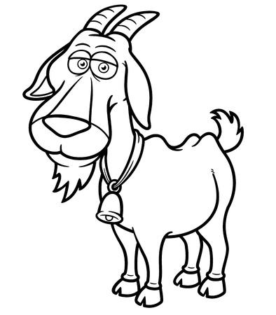 libro caricatura: Ilustración vectorial de dibujos animados de cabra - Libro para colorear