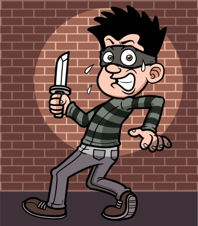 Vector illustration of cartoon thief Vector