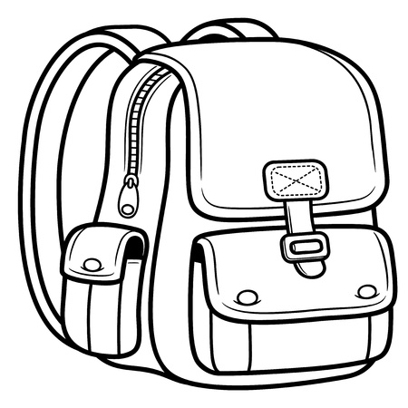 zaino: Illustrazione vettoriale di sacchetto di scuola - Ritorno a scuola