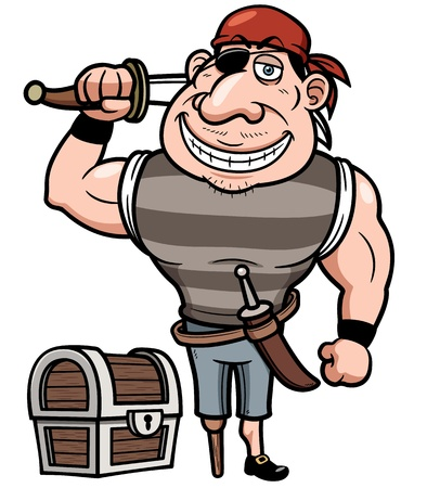 scowl: Vector illustration of Pirate with old treasure chest
