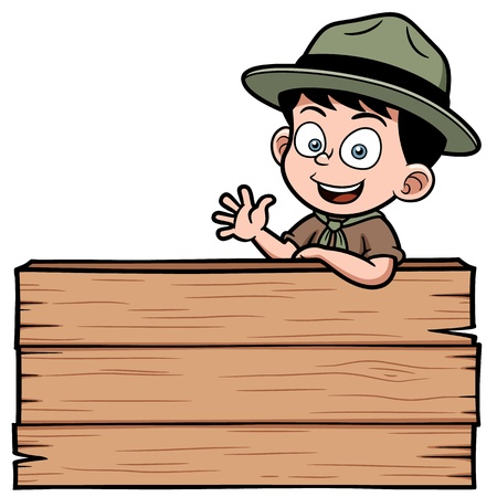 scout: Vector illustration of Boy with wooden board