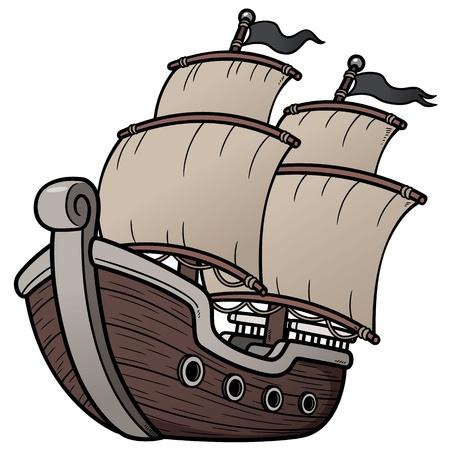 barco pirata: Ilustración vectorial de barco pirata Vectores