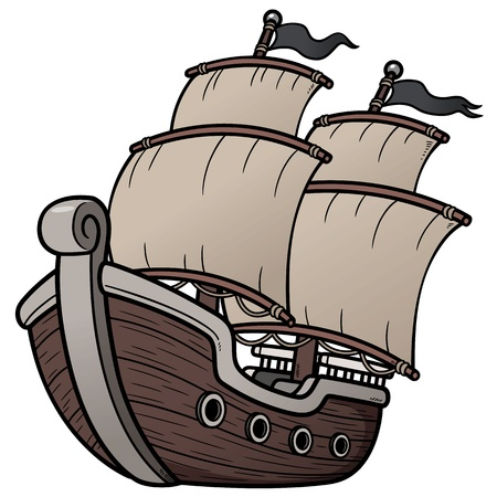 pirate cartoon: Vector illustration of Pirate Ship