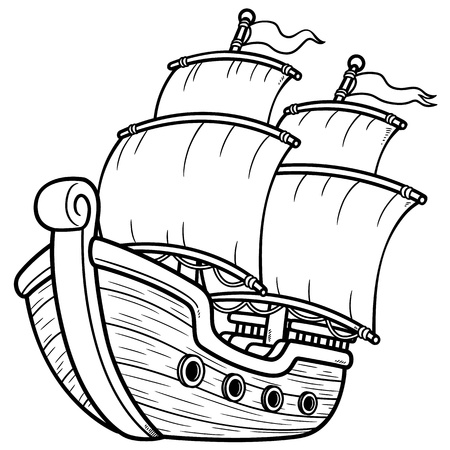 Vector illustration of Pirate Ship - Coloring book