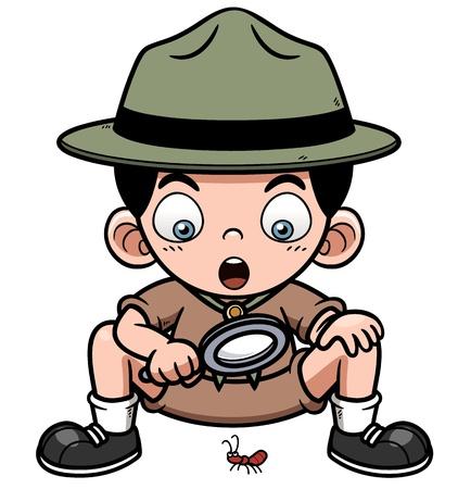 pfadfinderin: Vektor-Illustration der Junge mit Vergr��erungsglas