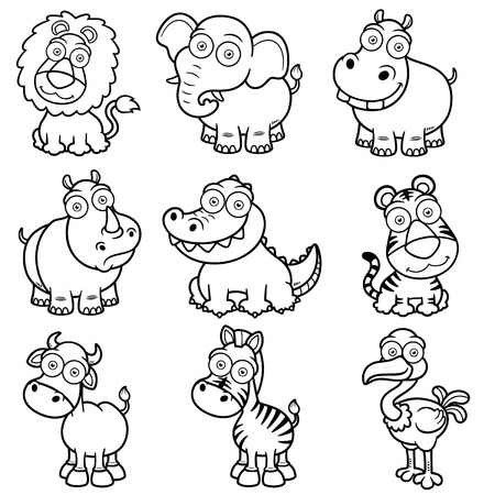vector cartoons: Vector illustration of wild animals cartoons - Coloring book