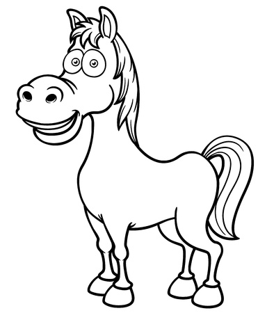 brown horse: Vector illustration of a horse - Coloring book
