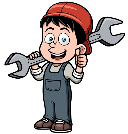 Vector illustration of Cartoon mechanic holding a huge wrench Illustration