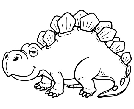 stegosaurus: illustration of Cartoon dinosaur - Coloring book