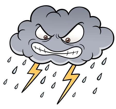 illustratie van Cartoon Wolken met Thunder Stock Illustratie