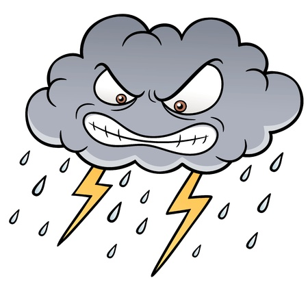 illustration of Cartoon Clouds with Thunder Vector