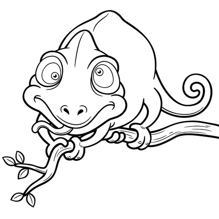 illustration of Cartoon Chameleon - Coloring book Vector