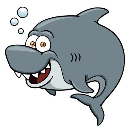 squalo bianco: illustrazione del cartone animato Shark Vettoriali