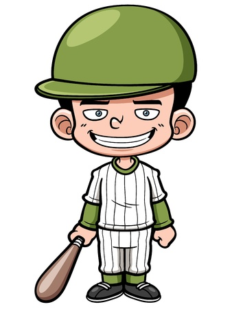 illustration of Cartoon Baseball Player
