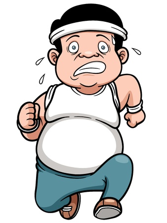 weighty: illustration of fat man Jogging Illustration