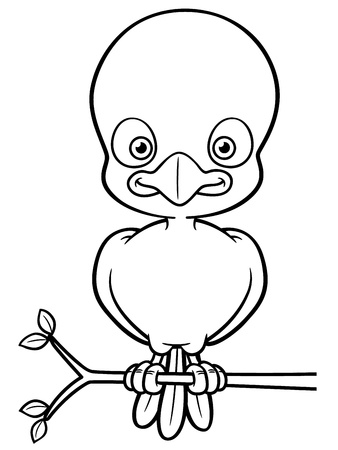 whistling: Vector illustration of Cartoon Bird - Coloring book