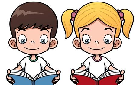 libro caricatura: Ilustración vectorial de dibujos animados niños y una niña leyendo un libro