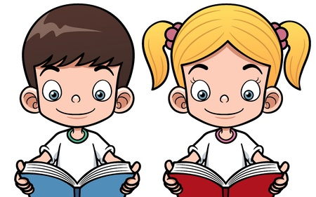 elementary: Vector illustration of cartoon boy and girl reading a book