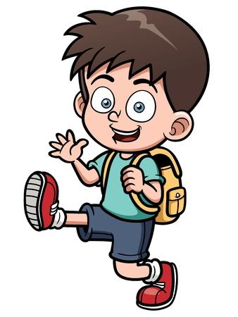 Ilustración vectorial de niño de ir a la escuela