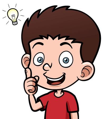 Illustrazione vettoriale di un ragazzo con una buona idea Vettoriali