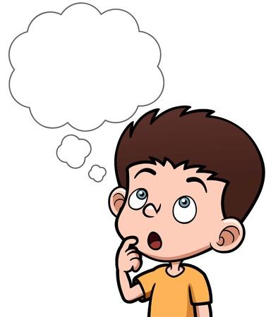 niños pensando: Ilustración vectorial de dibujos animados niños pensando con la burbuja blanca