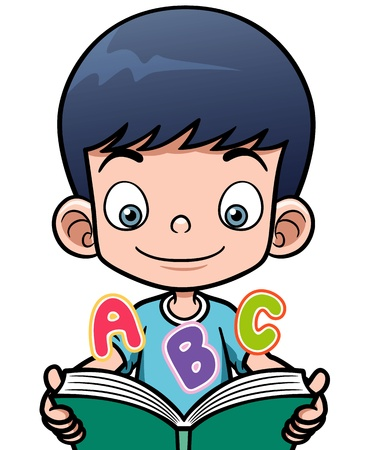 Vector illustration of cartoon boy reading a book Vector