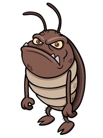 Vector illustration of cartoon cockroach Illustration