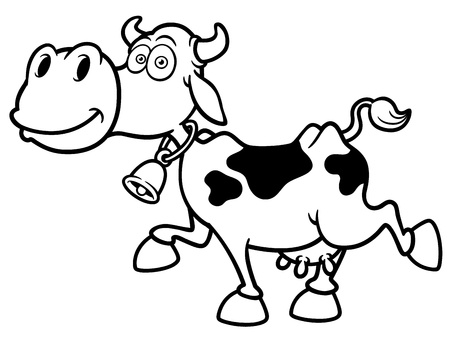 cow bells: Vector illustration of Cartoon Cow - Coloring book