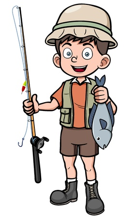 enthusiastic: Vector illustration of fisherman holding fish