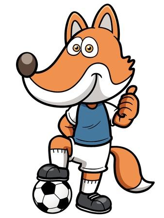 pelota caricatura: Ilustración vectorial de un futbolista fox Vectores