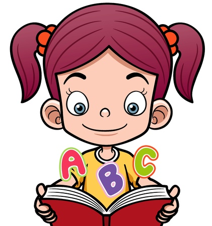 children studying: Vector illustration of cartoon girl reading a book