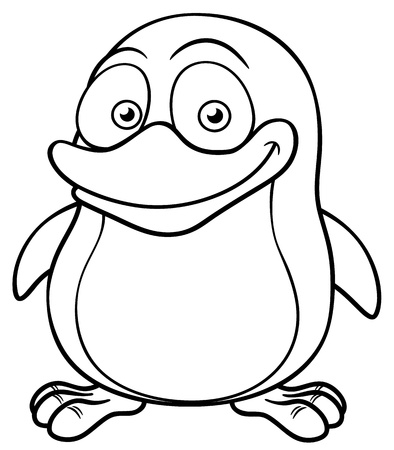 Vector illustration of Penguin cartoon - Coloring book Vector
