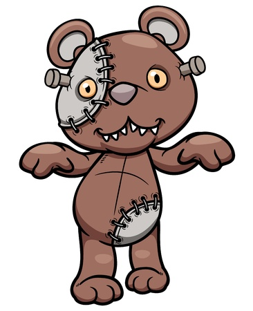 Vector illustration of Evil teddy bear Vector