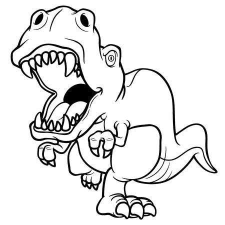 Vector illustration of cartoon dinosaur - Coloring book Stock Vector - 20480632