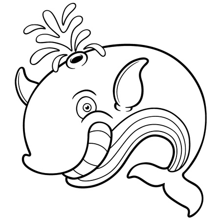 Vector illustration of Whale cartoon - Coloring book Illustration