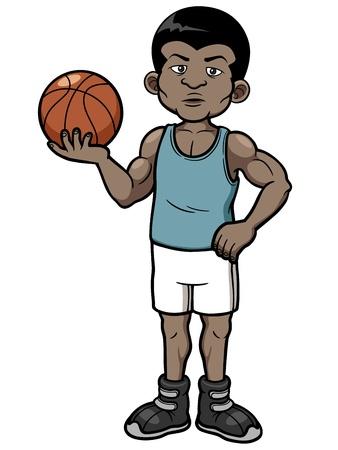 Vector illustration of cartoon basketball player Vector