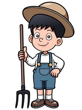 Ilustración vectorial de dibujos animados pequeño granjero Ilustración de vector