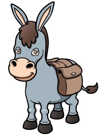 Ilustración vectorial de dibujos animados burro