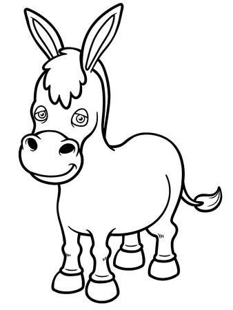 donkey: Vector illustratie van Cartoon burro - Kleurboek