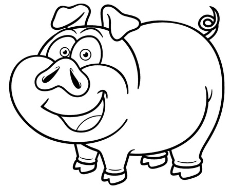 Vector illustration of cartoon pig - Coloring book Vector