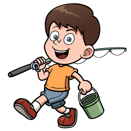 Vector illustration of Boy fishing Vector