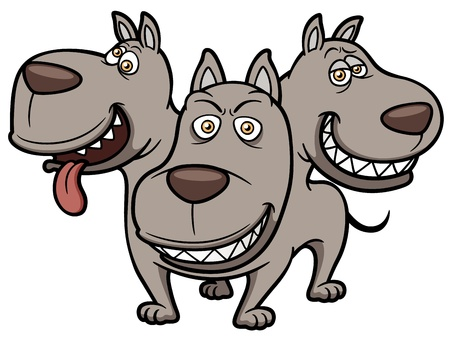 Vector illustration of Cerberus cartoon Illustration